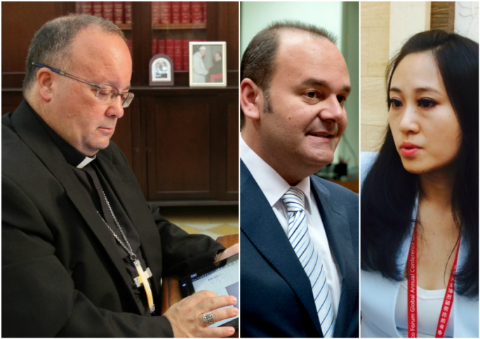 Archbishop Charles Scicluna, economy minister Chris Cardona and Sai Mizzi Liang