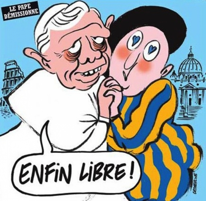 A photo featured in satirical French magazine Charlie Hebdo, depicting former pope as a homosexual