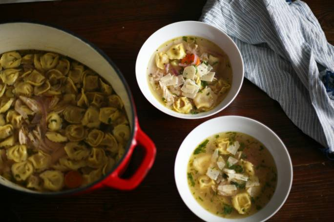 Chicken and tortellini soup