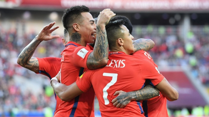 Chilean players celebrating their equaliser