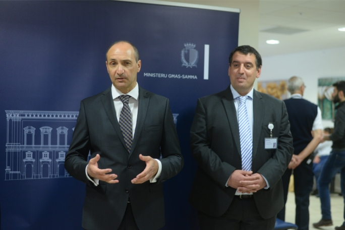 Health minister Chris Fearne (left) with Mater Dei Hospital CEO Ivan Falzon (right)