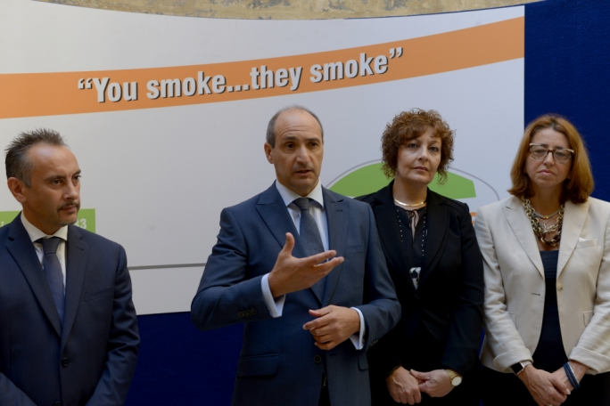 Health minister Chris Fearne launches an awareness campaign against smoking inside cars carrying children. Photo: Chris Mangion