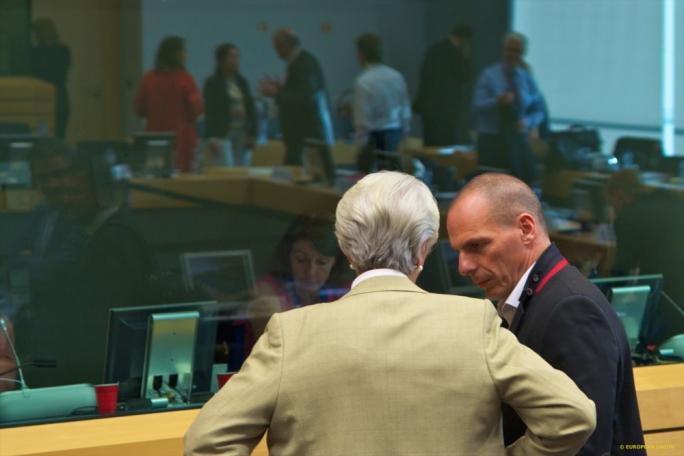 IMF director Christine Lagarde with Greek finance minister Yanis Varoufakis