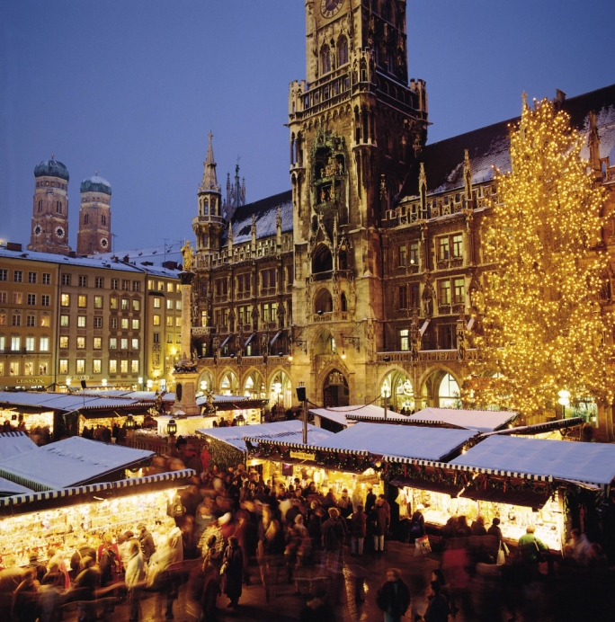 Gluhwein, bratwurst, gingerbread and a giant Christmas tree lit up by 2,500 candles are enough to put anyone in the Christmas spirit