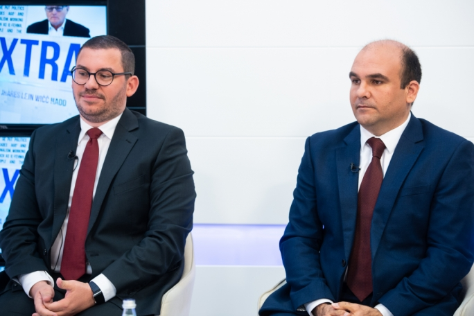 PL candidate Cyrus Engerer (left) and PN candidate Peter Agius (right)