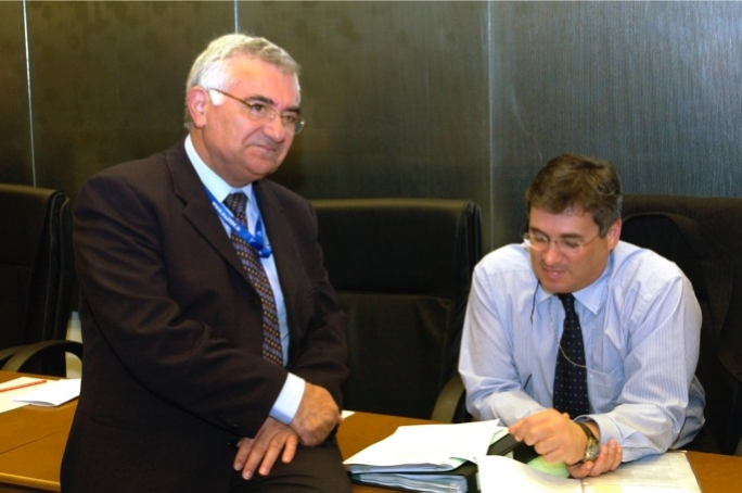 John Dalli (left) at a European Council meeting with Richard Cachia Caruana.