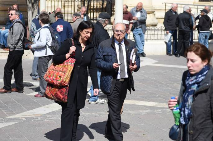 Daphne Caruana Galizia outside the law courts with lawyer Joseph Zammit Maempel