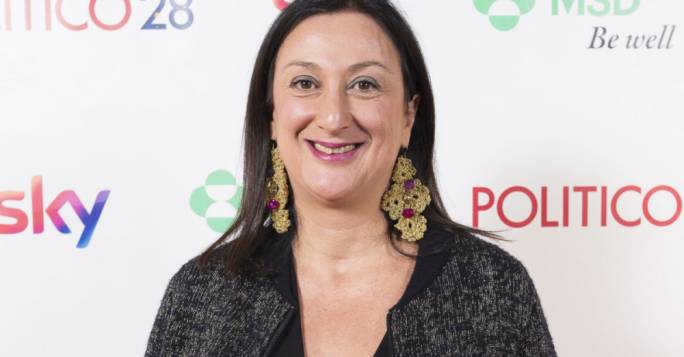 Daphne Caruana Galizia at the Politico awards in 2017