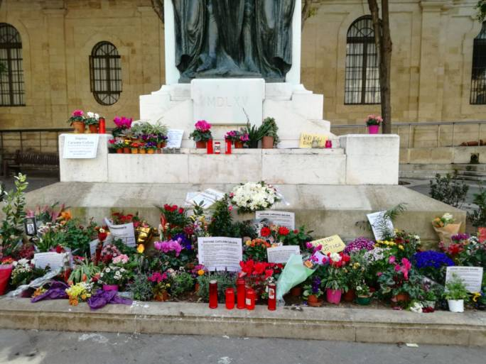 Photos removed from Caruana Galizia memorial