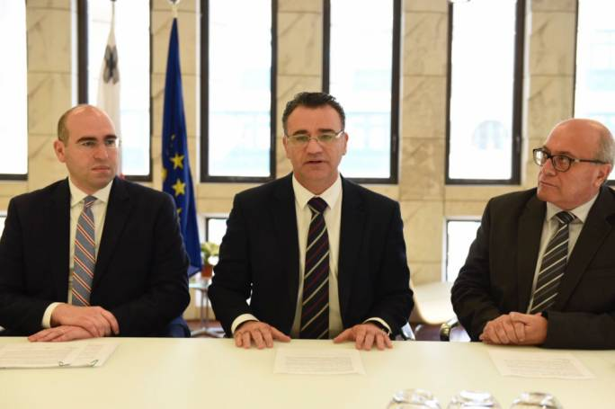 PN deputy leader David Agius flanked by MPs Karol Aquilina and Frederick Azzopardi