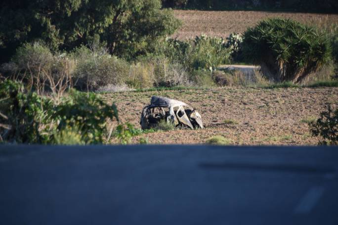 The burnt wreckage of the car Daphne Caruana Galizia was driving