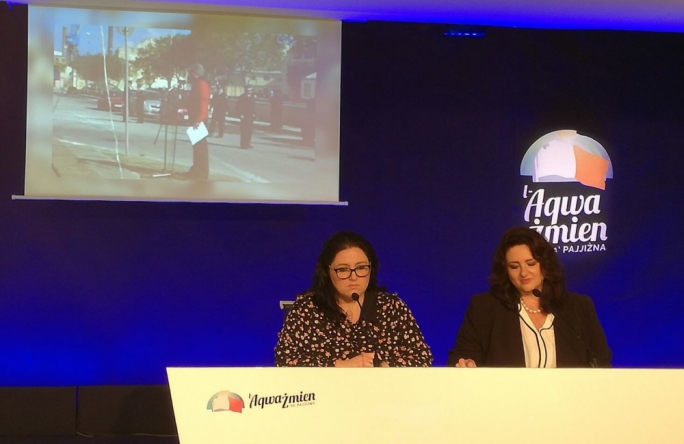 Cabinet members Helena Dalli and Deborah Schembri address press conference