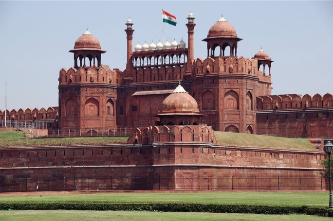 Made of red sandstone, the Red Fort was designed to protect the city from invaders