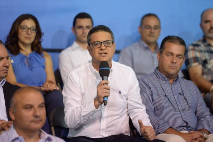 Nationalist Party leader Adrian Delia addresses members of the party's regional committees