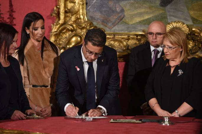 Nationalist Party leader Adrian Delia was sworn in as leader of the Opposition