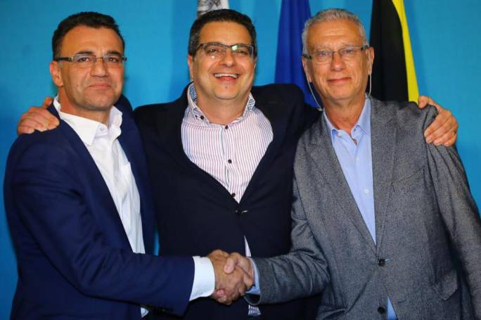 PN leader Adrian Delia with his two deputy leaders, David Agius and Robert Arrigo