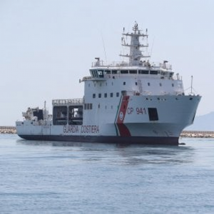 The Italian coastguard ship has been stopped from entering Lampedusa by Italian authorities