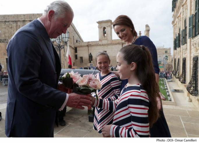 The Prince of Wales met Prime Minister Joseph Muscat and his children, Soleil and Etoile, at the Auberge de Castille
