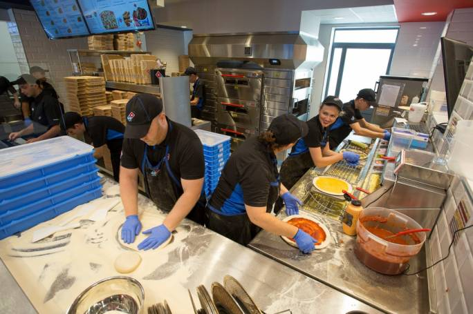 Inside the kitchen of Domino's Birkirkara outlet
