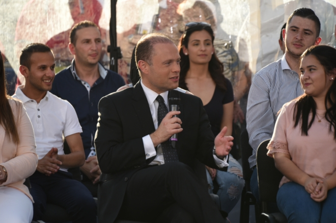 Prime Minister Joseph Muscat addresses a political activity in Birkirkara. Photo: Chris Mangion