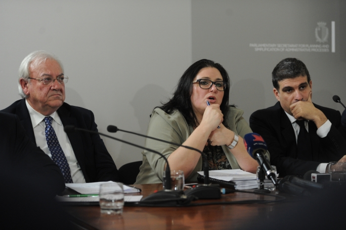 From left: retired judge Lino Farrugia Sacco, parliamentary secretary Deborah Schembri and consultant Robert Musumeci (Photo: James Bianchi/MediaToday)