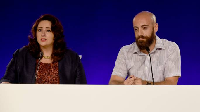 Equality Minister Helena Dalli and Equality Labour leader Clayton Cutajar said a Nationalist government would be a threat to equal rights (Photo: Chris Mangion)