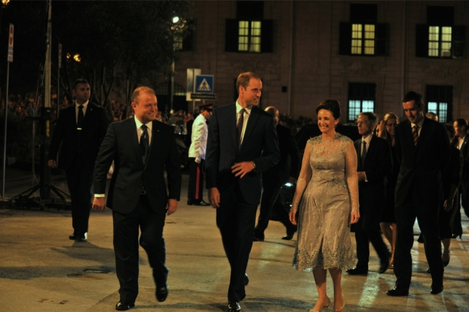 Prince William with Prime Minister Joseph Muscat and Michelle Muscat at Upper Barrakka Gardens