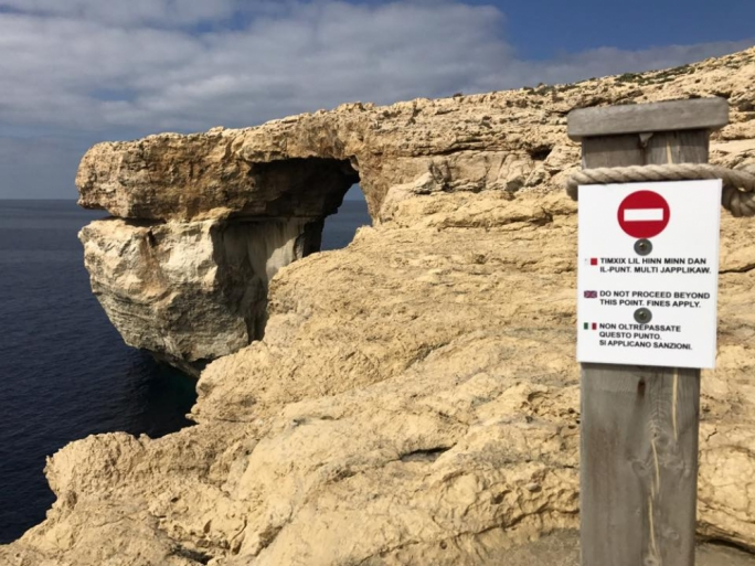 Warning signs at Dwejra were meant to ward off people from walking over the Azure Window