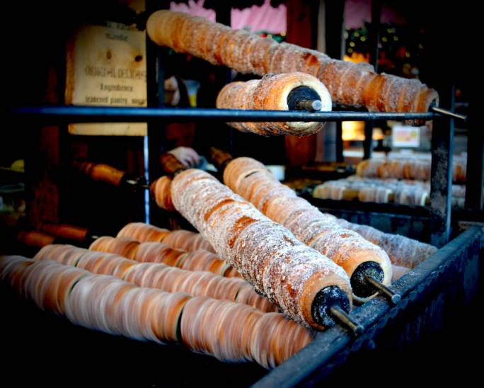 Slovack rolled pastries, trdelník, are popular throughout the city