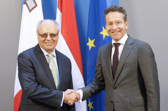 Eurogroup President Jeroen Dijsselbloem and Finance Minister Edward Scicluna