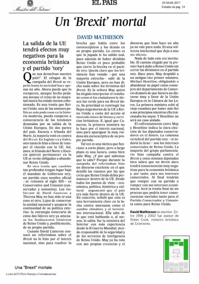 El Pais' front page