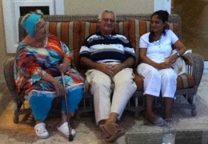 Eloise Corbin (left) with John Dalli (centre) and his daughter Louisa Dalli (right)
