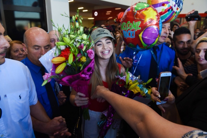 Emma Muscat back in Malta to a rapturous welcome by fans. Photo: James Bianchi