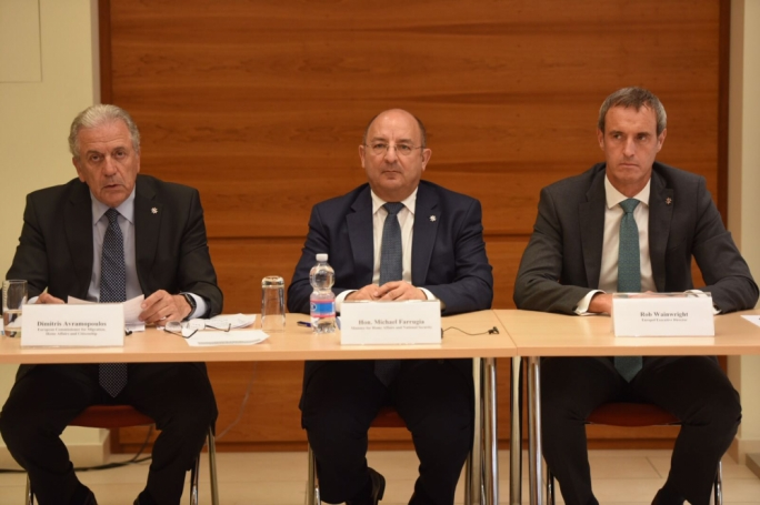 From left: EU Commissioner Dimitris Avramopoulos, Europol Executive Director Rob Wainwright and Malta's home affairs minister, Michael Farrugia