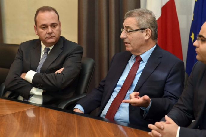 Economy Minister Chris Cardona and Education Minister Evarist Bartolo, flanked by JobsPlus executive chairperson Clyde Caruana