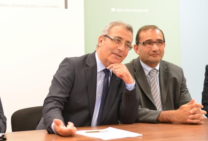 Evarist Bartolo with his permanent secretary Joseph Caruana