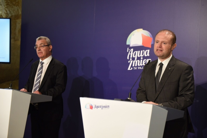 Prime Minister and Labour Party leader Joseph Muscat (R) addresses a press conference with education minister Evarist Bartolo (Photo: James Bianchi/MediaToday)