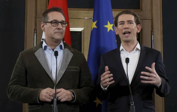 Heinz-Christian Strache (left) and Sebastian Kurz