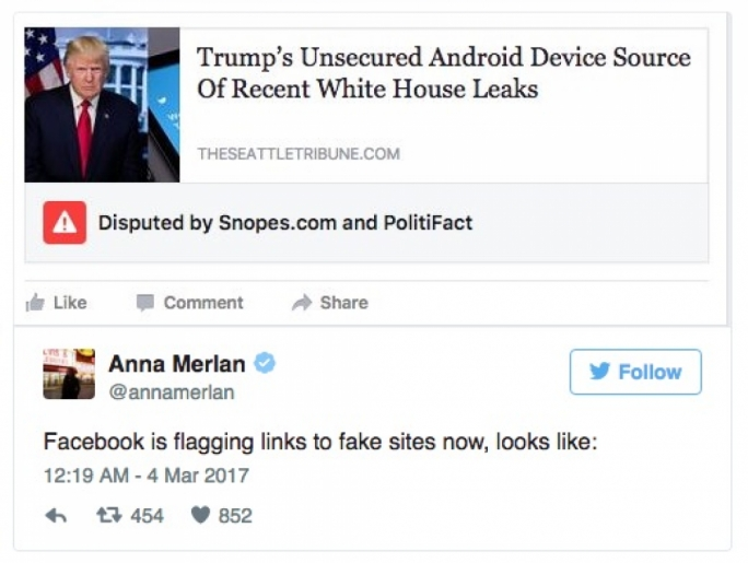 Facebook introduces 'disputed' label for fake news stories