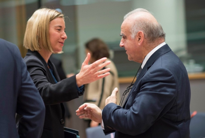 EU High Representative Federica Mogherini welcomes Foreign Affairs Minister George Vella to Brussels (Photo: Ray Attard/Maltese Presidency of the EU Council)