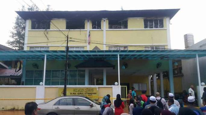 The school engulfed by the deadly blaze, in Kuala Lumpur (Photo: @Bharianmy/Twitter)