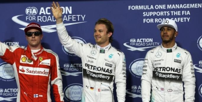 Kimi Räikkönen, Nico Rosberg and Lewis Hamilton