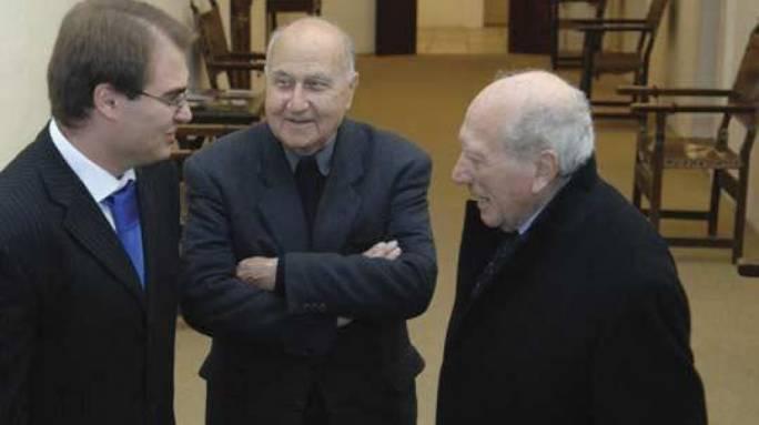 Mgr Fortunato Mizzi (centre) with the late President Emeritus Guido de Marco