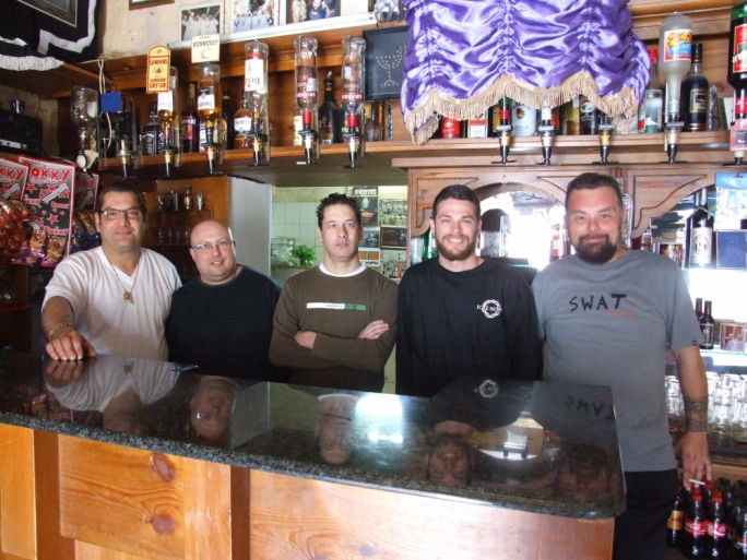 Frankie Delia (left) with other enthusiasts at Juve Bar