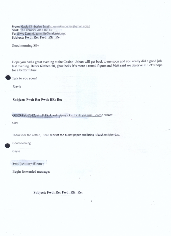 The disputed email allegedly sent on the 14 February 2012