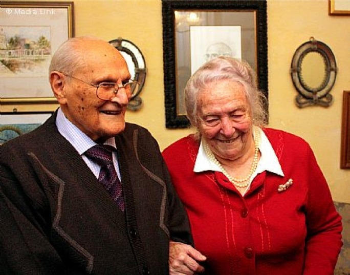 Former President Censu Tabone with his wife Maria