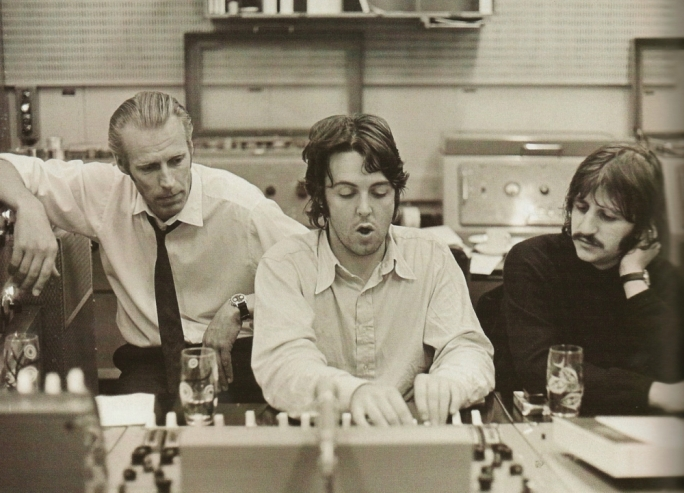 George Martin in the studio with Paul McCartney and Ringo Starr