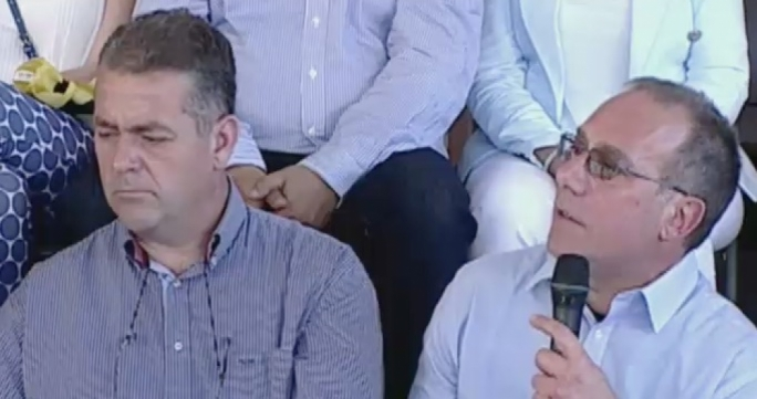Criminal lawyer Joe Giglio (right) addresses a PN political activity