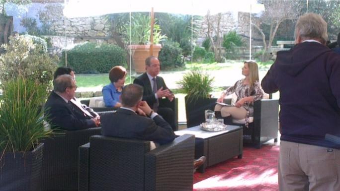 Prime Minister Lawrence Gonzi at Villa Arrigo this morning