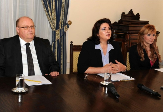 Civil Liberties minister Helena Dalli (centre) with Attorney General Peter Grech (left) and Joanne Cassar.
